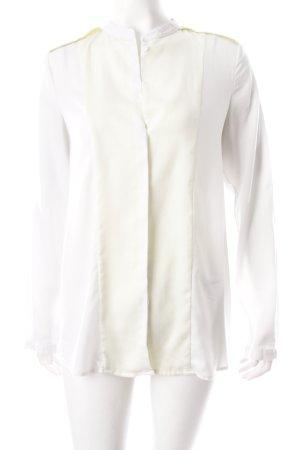 Mango Langarm-Bluse hellgrau-blassgelb klassischer Stil