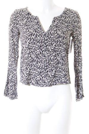 Mango Langarm-Bluse schwarz-weiß Animalmuster Animal-Look