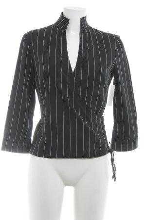 Mango Langarm-Bluse schwarz-weiß Nadelstreifen Wickel-Look