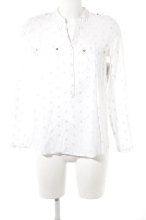Mango Langarm-Bluse weiß-goldfarben Punktemuster Casual-Look