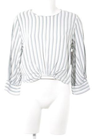 Mango Langarm-Bluse weiß-petrol Streifenmuster Casual-Look