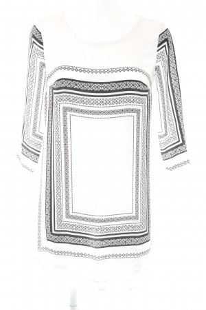 Mango Langarm-Bluse weiß-schwarz Ornamentenmuster Casual-Look