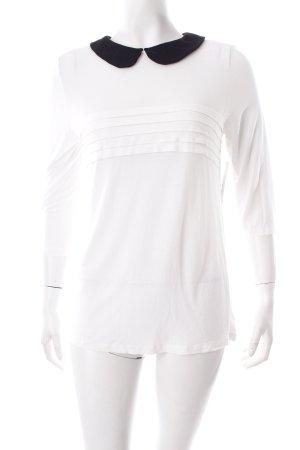 Mango Langarm-Bluse weiß-schwarz Stofflagen-Detail