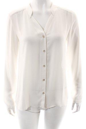 Mango Langarm-Bluse weiß Transparenz-Optik