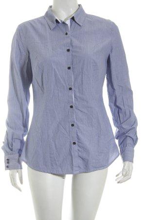 Mango Langarmhemd blau-weiß Casual-Look