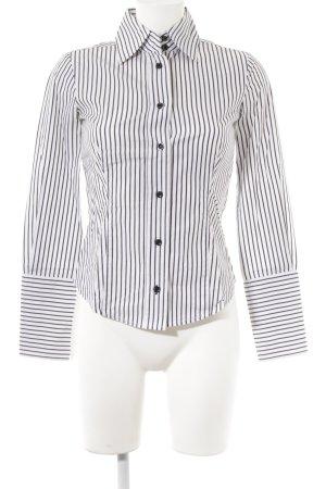 Mango Shirt met lange mouwen donkergrijs-wit gestreept patroon zakelijke stijl
