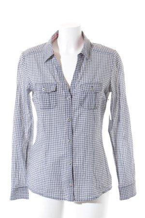 Mango Chemise à manches longues blanc-bleu foncé motif à carreaux