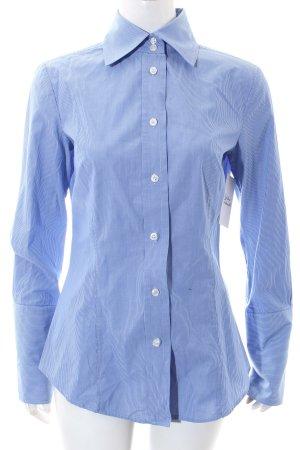 Mango Langarmhemd weiß-himmelblau Nadelstreifen Elegant