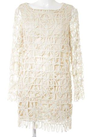 Mango Langarmkleid creme-beige abstraktes Muster Hippie-Look