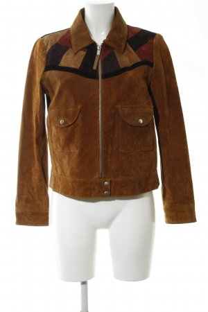 Mango Lederjacke braun-rot grafisches Muster Casual-Look