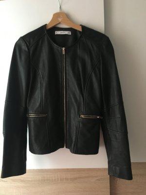 Mango Leather Jacket black
