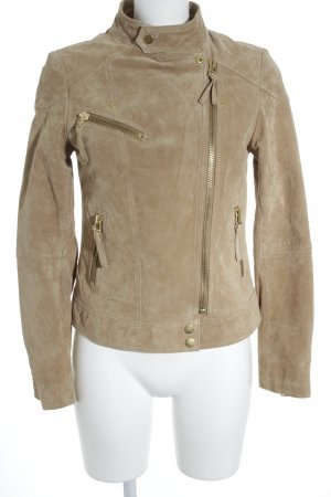 Mango Giacca in pelle beige stile casual