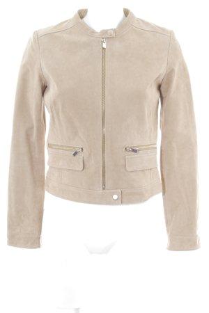 Mango Lederjacke beige Street-Fashion-Look