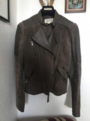 MANGO Lederjacke Biker Jacke Leder taupe grau wNeu S 36 Wildleder Bikerjacke