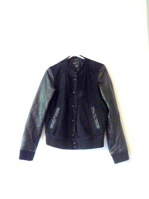 Mango Veste en cuir noir cuir