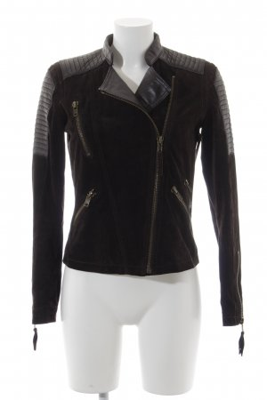 Mango Leather Jacket dark brown leather