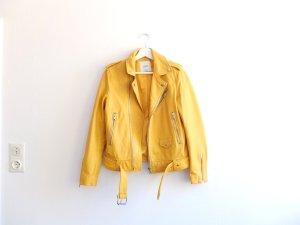 Mango Lederjacke Gr. M 38 gelb Schafsleder Bikerjacke