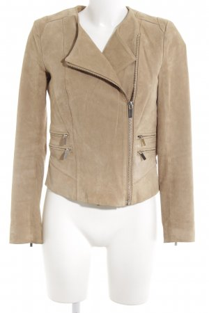 Mango Leather Jacket light brown casual look