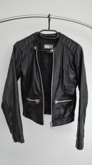 Mango Leather Jacket black-silver-colored leather