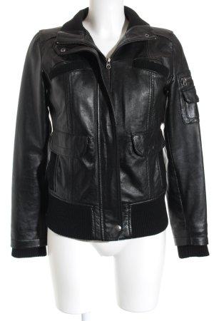 Mango Veste en cuir noir Look de motard