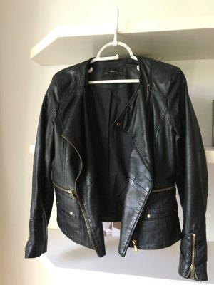 Mango Lederjacke schwarz echt Leder stylische Bikerjacke  Fashion Gr S M 38