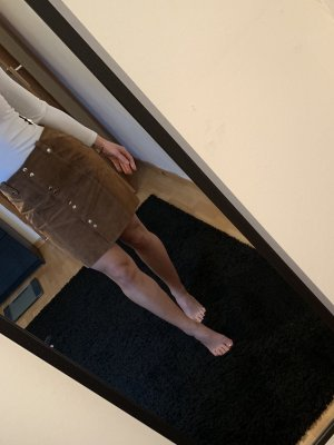 Mango Leather Skirt brown-bronze-colored