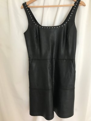 Mango Leather Dress black-silver-colored