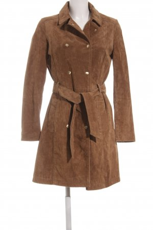 Mango Leather Coat light brown casual look