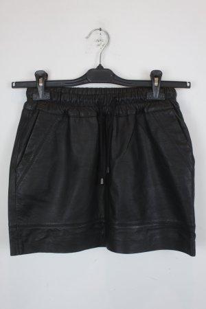 Mango Falda de cuero negro Cuero