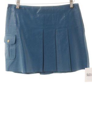 Mango Lederrock stahlblau Street-Fashion-Look