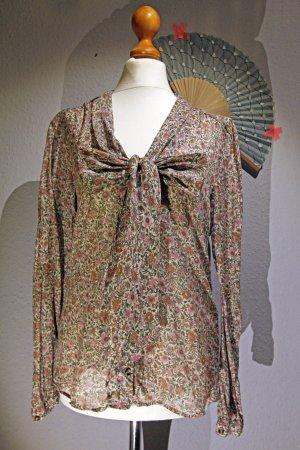 Mango | Leichte Bluse * Shirt * Vintage Blumenprint * Khaki * Altrosa * Braun S