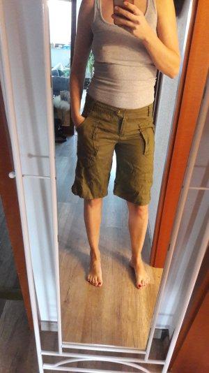 Mango Leinen Ramie Leinenshorts Shorts Bermuda Khaki Cargo