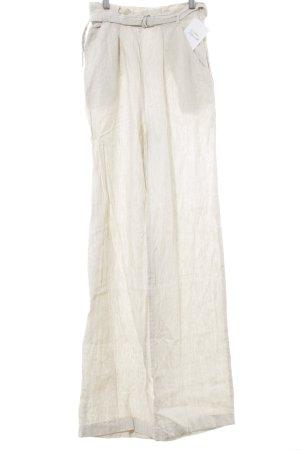 Mango Pantalón de lino beige-crema estampado a rayas look casual