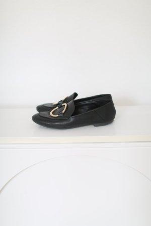 Mango Loafer dunkelblau/schwarz mit Schnalle Gr 38 Used Ballerinas