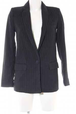 Mango Long-Blazer dunkelblau-wollweiß Nadelstreifen Business-Look