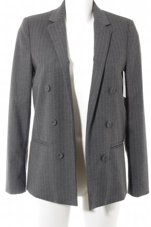 Mango Long-Blazer grau-anthrazit Streifenmuster Business-Look