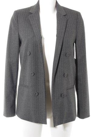 Mango Blazer largo gris-gris antracita estampado a rayas estilo «business»