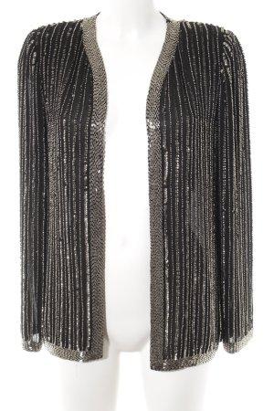 Mango Long-Blazer schwarz-silberfarben Streifenmuster Party-Look