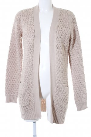 Mango Long Knitted Vest oatmeal loosely knitted pattern casual look