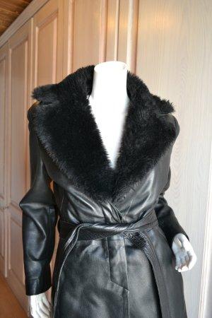 Mango Manteau en cuir noir cuir