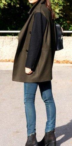 Mango Manteau en laine noir-vert foncé laine