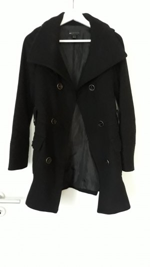 Mango Casual Sportswear Short Coat black wool