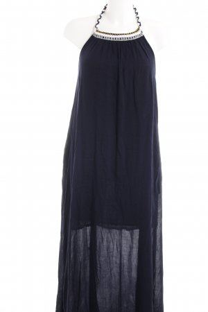 Mango Vestido largo azul oscuro look Boho