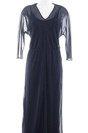 Mango Maxi abito blu scuro-argento motivo a righe elegante
