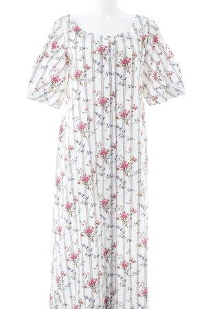 Mango Maxikleid weiß-pink Blumenmuster Casual-Look