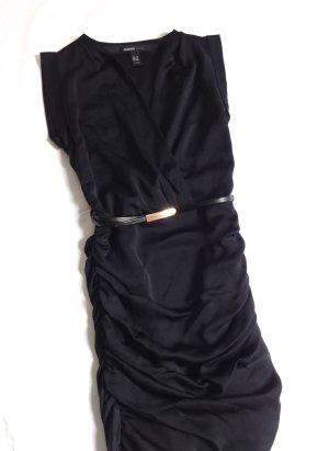 MANGO Mini Kleid Wasserfall + Gürtel black – XS