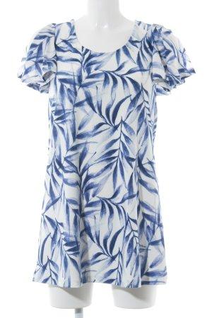 Mango Minikleid weiß-dunkelblau florales Muster Casual-Look