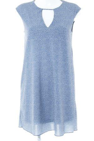 Mango Minikleid weiß-graublau Punktemuster Casual-Look