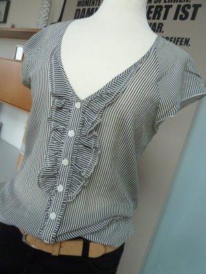 Mango MNG Bluse schwarz-weiß Streifen Voille luftig leicht Gr. M 38