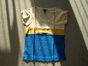 Mango Casual Sportswear V-hals shirt veelkleurig Linnen